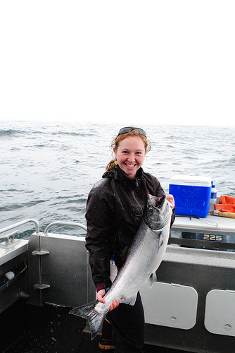 Liz catches her first ever king salmon during her JV year.
