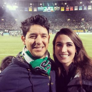 Amanda (right) with her fiancé at a recent Portland Timbers game