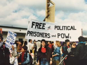 Patty and others protesting for prisoners' rights in San Francisco, Spring, 1988