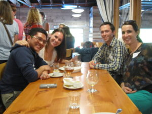 Amanda, (far right) with other FJVs at a PAC happy hour social in September