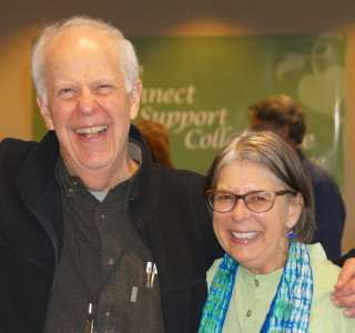 Caryl with Parker Palmer at the 2014 Courage Global Gathering, which Caryl co-facilitated